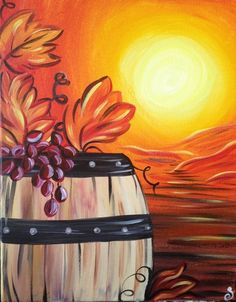 Wine Barrel Grapes Diy Paint By Numbers Kits is the perfect first step for beginners to enjoy the art of painting using our People paint by number collection.Paint your own wall art, even if you… Fall Canvas Painting, Wine Painting, Autumn Painting, Autumn Art, Painting & Drawing, Fall Paintings, Wine And Paint Night, Wine And Canvas, Halloween Painting