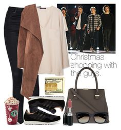 """""""Christmas shopping with the guys."""" by welove1 ❤ liked on Polyvore featuring Topshop, Victoria Beckham, MANGO, Yves Saint Laurent and adidas"""