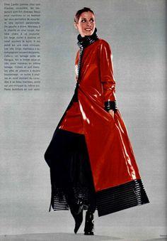 1969 Pierre Cardin red black rib trim vinyl maxi coat