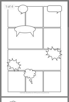 Third Grade Writing, Writing Promps, Book Writing Tips, Creative Writing, Comic Book Pages, Comic Books, Comic Strip Template, Create Your Own Comic, Dibujos Zentangle Art