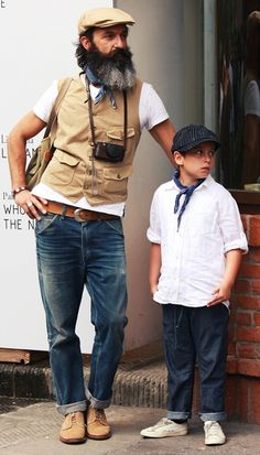 They are both so stylish the boy is wearing what my son will someday wear.