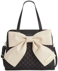 Betsey Johnson Bow Tote - Stripe w/ pink bow