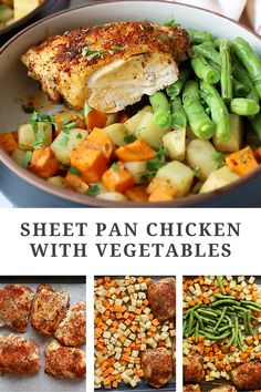 Sheet pan chicken with vegetables uses fresh ingredients pantry staples for a delicious meal. Make this recipe tonight in just under an hour! #sheetpanmeal #sheepanrecipe #onepanrecipe #chickenrecipe #chickenandvegetablesrecipe Chicken Thigh Recipes, Baked Chicken Recipes, Best Paleo Recipes, Different Vegetables, One Pan Meals, Kitchen Recipes, Recipe Tonight, Sheet Pan, Dinner Recipes