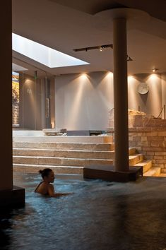 It's Thursday and all we can think about is going to a far off somewhere in the middle of nowhere and - Nun_Assisi Relais spa museum Hotel - ASSISI, Italy - 2011 - Chiara Gazziero Deco Spa, Spa Luxe, Museum Hotel, Spa Interior, Concrete Pool, My Pool, Spa Design, Wellness Spa, Wellness Center