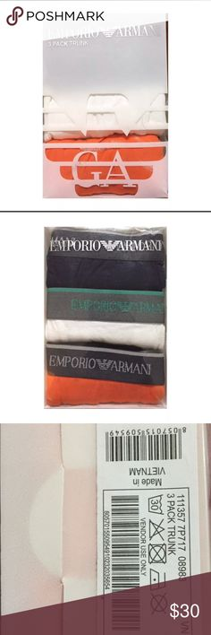 Premium Emporio Armani 3 Pack Underwear 🌟Premium Emporio Armani 3 Pack Underwear  🌟Machine Washable In Cold Water 🌟style TRUNKS Emporio Armani Underwear & Socks Briefs