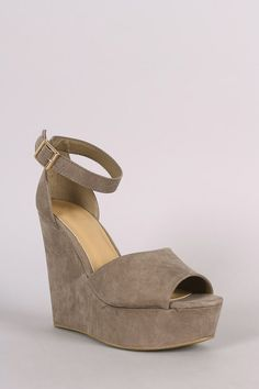 364e8815328b Bamboo Suede Ankle Strap Platform Wedge