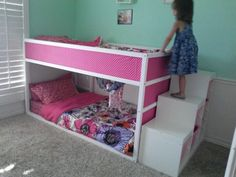Duh put the ladder against the wall! Bed down below while little and then when she's older bed up top and reading nook or toys below.