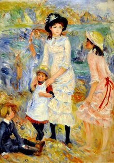 """Children on the Seashore, Guernsy""  --  1883  --  Pierre-Auguste Renoir  --  French  --  Oil on canvas  --  Museum of Fine Arts, Boston"