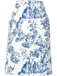 487db5a8f10e Shop Oscar de la Renta floral print midi skirt Shopping Lists, Midi Skirt,  Floral