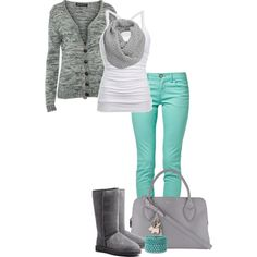 Gray, White & Mint!, created by jjanstover on Polyvore--rather then uggs, maybe riding boots
