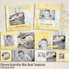 Chevron 3x3 Accordion book templates for por 7thavenuedesigns