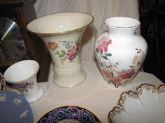 """3.5""""T Wedgwood Hathaway Rose pattern vase; 7""""T Rosenthal Ivory Bavaria vase; 7""""T Royal Kent English china vase"""