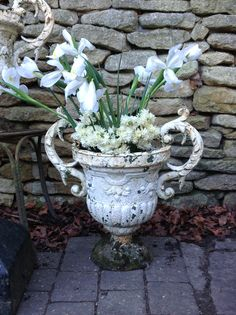 Antique Pair Of Mid 19th Century English Cast Iron Garden Urns With  Decorative Scrolling Acanthus Leaf