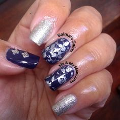 """My Manicure: Wedding Blues  To a family wedding wearing darkest blue, To match with my frock of the same hue, Silvery jewels in my ears and on my nails…"""