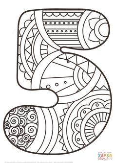 Número 5 Zentangle | Super Coloring