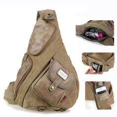 Tactical canvas and leather messenger bag for men Vintage men's big sling bags bolsas Black Khaki Army green 6218 Free shipping-inMessenger ...