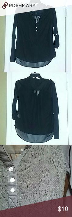 Women's Bongo Size Medium Black blouse Women's Bongo Size Medium Black blouse, front is laced back is sheer. BONGO Tops Blouses