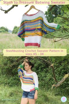 Stash to Treasure Batwing Crochet Sweater Pattern - Dora Does - Knitting patterns, knitting designs, knitting for beginners. Crochet Jumper Pattern, Jumper Patterns, Sweater Knitting Patterns, Knitting Designs, Knitting Yarn, Crochet Patterns, Mode Crochet, Knit Crochet, Crochet Sweaters