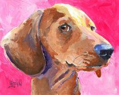 Dachshund Art Print of Original Acrylic Painting by dogartstudio