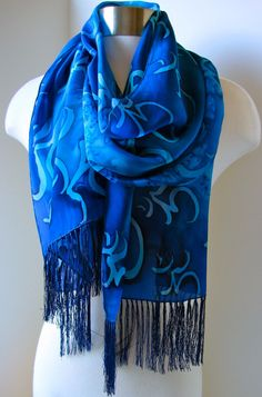 Om Shanti Hand Painted Silk Scarf  Gift for Yoga by joyinmystudio, $60.00