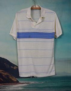 fbef922b Vintage 70's threadbare striped surf polo sz S Vintage 70s, Vintage Looks,  Blue Fabric