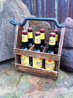 Wood Beer Caddy -- Wooden Beer Caddy -Beer Bottle Caddy --  Cold Drink Caddy - Soda Water Caddy - Six Pack Holder - Beer Caddy -Wood Caddy