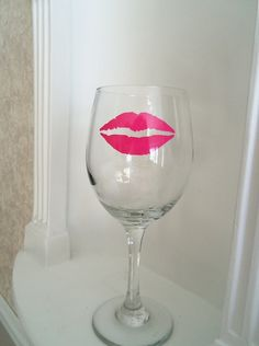 Pink Lips Wine Glass to go with your Mustache by YouniquelyElegant, $10.00
