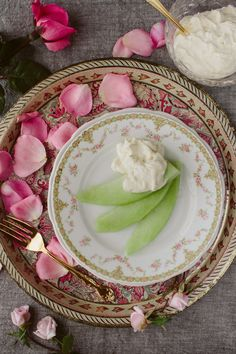 Honeydew with Rosewater and Honey Cream.