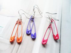 Fun colourful safety pin earrings with sterling silver hooks, whimsical jewelry, Selma Dreams unusual and bohemian accessories by SelmaDreams on Etsy