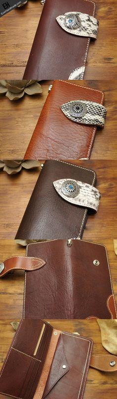Handmade coffee brown biker wallet snake skin leather with chain Long | EverHandmade