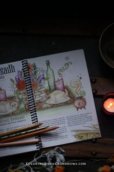 A ritual feast grimoire page from the Coloring Book of Shadows planner xo Coloring Tips, Colouring, Coloring Books, Coloring Pages, Wicca, Pagan, A Level Art, Recipe Books, Book Of Shadows
