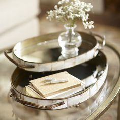 Capiz Oval Trays | Textured shell tiles border these mirrored, oval-shaped serving trays crafted of iron.