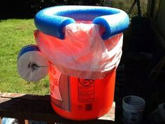 Homemade Porta Potty  --  good idea for camping or after severe weather hits.  A 5-gallon bucket, a section of pool noodle, and a trash bag.  Even a handy place for tissue.