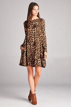 cc93241f80 Bellamie Tigress Long Sleeve Leopard Print Dress