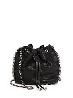 Stella McCartney black Falabella bucket bag with silver chain side detailing: Stella's signature Falabella bag takes on the bucket bag! Gorgeous!
