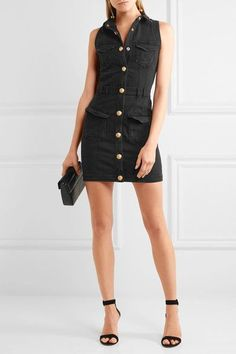 Balmain - Distressed Denim Mini Dress - Black - FR38