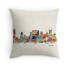 'Nashville Tennessee skyline' Throw Pillow by bri-b Nashville Art, Nashville Tennessee, Framed Prints, Canvas Prints, Art Prints, Skyline, Throw Pillows, Dorm Room, Metal