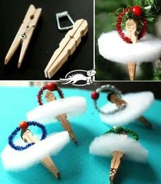 How to make adorable clothes pin ballerina ornaments step by step DIY tutorial i… - DIY Clothes Jeans Ideen Dance Crafts, Fun Crafts, Crafts For Kids, Diy Christmas Ornaments, Kids Christmas, Christmas Decorations, Angel Ornaments, Christmas Poinsettia, Christmas Gifts For Dancers