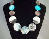Amazonite and Black Tourmaline and Shell Necklace