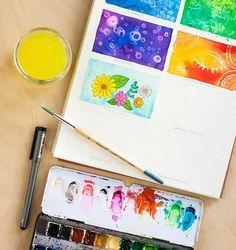 Acuarela - Dibuja con un lápiz o bolígrafo - Puedes usarlos para darle un contorno marcado a tus dibujos y así será más fácil pintar dentro las líneas.
