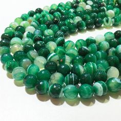 10mm Green Stripe AgateFaceted BeadsGemstone by Findingsstation