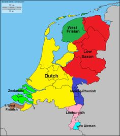 Main languages and dialects of the Netherlands.