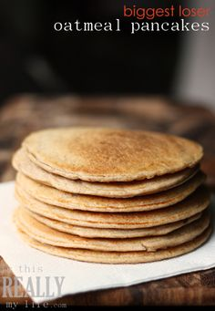 Biggest Loser pancake recipe -- high in protein and low in all the important stuff (carbs, calories and sugar). Great way to change-up our Waffle Wednesdays. #recipe #pancakes #breakfast