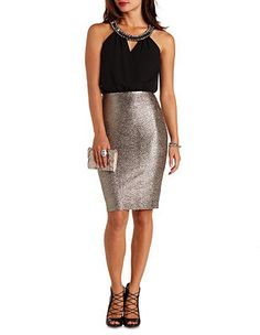 Jeweled Halter Chiffon & Metallic Dress: Charlotte Russe