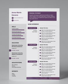 Get this professionally pre-designed plum, grey, and white, 1 page resume template! Modern, single page & easy to edit your CV in PDF format.
