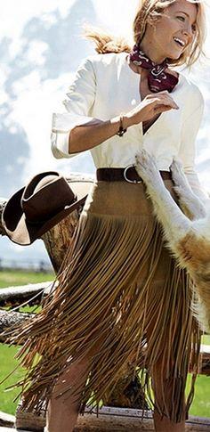 Saddle Up Brown Suede Fringe High Waist Midi Skirt