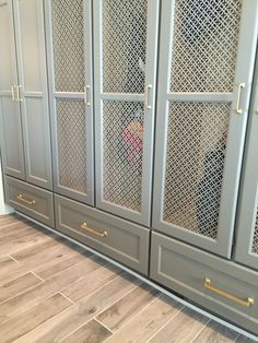 Gray cabinets with metal mesh insert