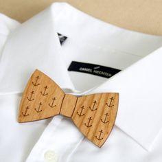 Wooden Anchor Print Laser Cut Bow Tie @jluan