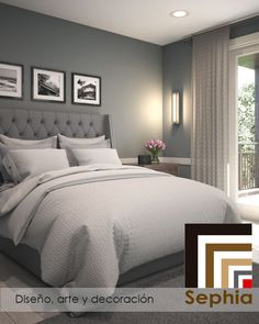Can have grey headboard, black and white photos and change comforter
