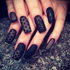 Beautiful satin inspired black polka dot nail art design. Make your nails look as sophisticated as it can be with this pretty saint and black polka dot nail art design with lace accent.